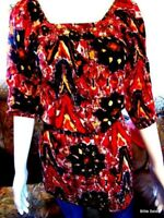 Angies Women Blouse Top Tunic Small Peasant Embellished Boho Multi Color Hippie