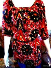 Womens Angie Blouse Tunic Small Embellished Boho Peasant Top Multi Color Hippie