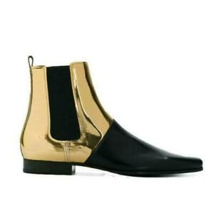 Mens Slip On Genuine Cuban Runway Leather Boot Pointy Toe Leisure Shoes Chelsea