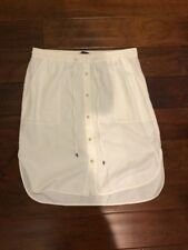 Authentic VINCE White Knee Length Button Front Skirt Drawstring Waist Large