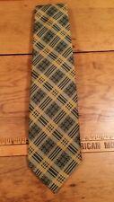 Vintage 1970 Habands Gold Green Plaid Designer Suit Mens Neck Tie Free Shipping