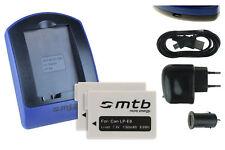 2 Batteries + Chargeur USB LP-E8 pour Canon EOS 550D, 600D, 650D, 700D