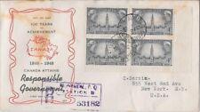 Canada FDC: 1948 4¢ Responsible Government FDC Sc #277 Block FDC - 277-1