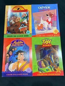 New Vintage Lot Color The Leader Book Disney Aladdin Lion King Oliver & Company