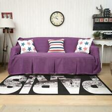 "One Piece Heavy Fabric Sofa Furniture Cover Throw with Pins Purple 83"" x 118"""