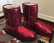 Ugg Authentic Women's Size 7 Classic Short Boots Sequins Sparkles Red 1006739