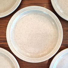 5 Vintage Red Wing Pottery Embossed Ribbed Rim Dinner Plates-REW8-Tan Speckled