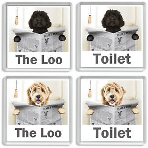 LABRADOODLE READING A NEWSPAPER ON THE LOO Novelty Toilet Door Signs