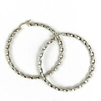 """Vintage Sterling Silver 925 Twisted Strand Hoop Pierced Earrings 8.9g 1.75"""" Diam"""