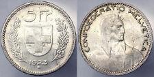 SVIZZERA SWITZERLAND 5 FRANCHI FRANCS 1923 ARGENTO SILVER #5282A