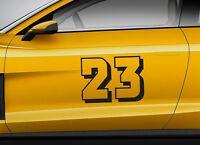 RACE NUMBERS retro 04. Custom car vinyl door sticker. Track trails transfer.