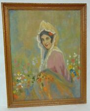 VINTAGE ANTIQUE LADY PORTRAIT PAINTING BY LISTED ARTIST CHARLES DUVALL