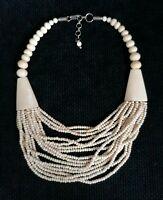 Vintage Multi Strand Bovine Bone Carved Beads Cream Ethnic Tribal Bib Necklace
