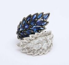 10.40ct Sapphire & White Sapphire 925 Sterling Silver Gold By-Pass Cocktail Ring