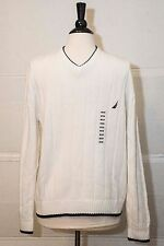 NEW NWT Nautica Sweater Pullover White Ribbed Men Size M