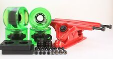 .70mm Clear Green Longboard Wheels and Red Reverse Kingpin Truck Combo Set