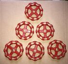 6 New Old Stock Valve Handles All Red Lightweight Steampunk Metal Arts Crafts