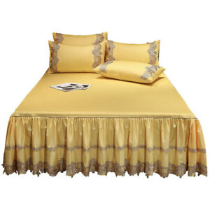 Luxury Satin Cotton Lace Bedspread Ruffles Bed Skirt Queen Full King Bed Sheets