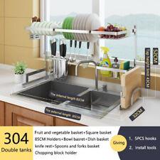 Sink Dish Drying Rack Drainer Shelf Stainless Steel Kitchen Cutlery Holder USA