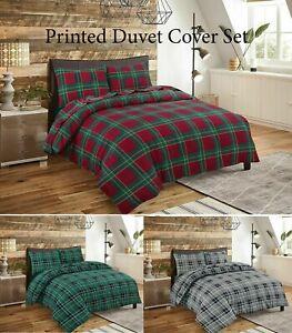 Checked Flannelette Tartan 100% Brushed Cotton Thermal Duvet Cover Bedding set