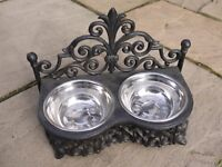 Small Black Cast Iron Cat / Small Dog Feeder - Raised Pet Stand For Food / Water