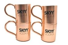 SKYY Vodka Moscow Mule Mugs Cups Copper Set of 4 with Handles