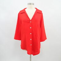 Fridaze Tunic Shirt Top Blouse Linen M Medium Red Hi Low Asymmetric Lagenlook