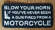 Motorcycle Biker Cloth Patch Badge Leathers Cut Off Vest Jacket Colours Horn Gun