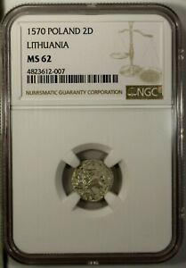 Poland Lithuania Two Denars 1570 NGC MS62 Medieval Coin Vilnius Mint