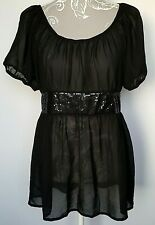 Ladies Saint Tropez Sheer Peasant Top UK L Black Glamorous Sequin Puff Sleeve