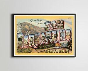 "SAN BERNARDINO ""Large Letter"" Postcard POSTER! (up to 24 x 36) - California Art"
