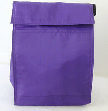 Reusable Insulated LUNCH BAG - SOLID PURPLE - Tab Closure - Front Pocket
