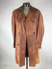 Europa Sport Leather Trench Coat Double Breasted Belted Made in Spain 1 Vent 46