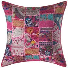 Decorative Cotton Abstract Pink 24x24 Vintage Patchwork Bohemian Pillow Covers