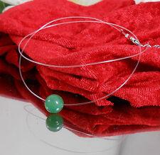 Zilar Schwebende Aventurin grün Kugel unsichtbare Halskette Nylon handgefertigt