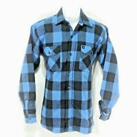 Codet Mens Shirt Vintage Flannel Size Small Long Sleeve Button Up Blue Plaid