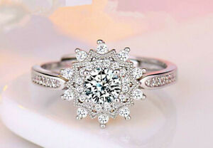 Snowflake Adjustable Ring 925 Sterling Silver Womens Girl Jewellery Love Gift UK