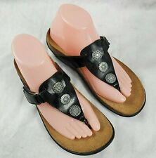 ORTHAHEEL $109 BLACK PATENT LEATHER CECILIA ORTHOTIC THONGS SANDALS Size 8/39
