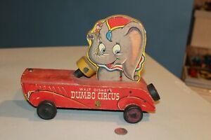 RARE Vintage 1940s Walt Disney Dumbo Circus Fisher Price Wood Pull Toy No. 738