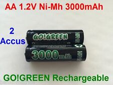 2 Piles AA 3000mAh Rechargeable Mignon LR6 1.2V Ni-Mh  TRES PUISSANT - DE FRANCE