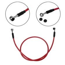 "Red 23.62"" Motorcycle Bike Stainless Steel Braided Brake Oil Hose Line Universal"