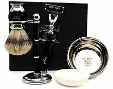 Sliver Tip Badger Hair Brush Gift Set Of 5 items includes Gillette Mach 3 Razor.