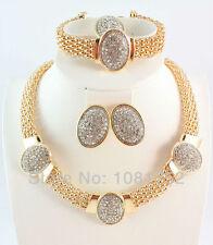 Fashion Women Rhinestone Necklace Earrings Bracelet Ring Wedding Jewelry Set