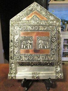 Vintage Ornate Silver & Copper Metal Clad Wooden Wall Hanging Letter/Key Holder