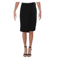 Calvin Klein Womens Faux Wrap Pencil Skirt Belted Black Office Wear Petites 6P
