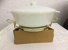 Vintage FIRE KING 1.5-QT CASSEROLE w/ELECTRIC WARMER Anchor Hocking Ovenware NEW