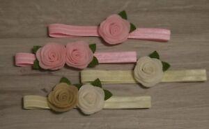 Baby Mädchen Stirnband Filz Blüte Blume Haarband Kopfband Headband rosa creme
