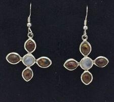 Sterling Silver Tigers Eye & Moonstone Drop Earrings