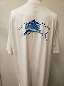 "New Coastal Cotton ""Marlin"" Short Sleeve T-Shirt, White, L"