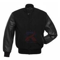 Varsity Solid Black Letterman Baseball University Wool and Real Leather Sleeves